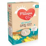 Cereale cu lapte Vise Placute, Gris cu banane si frisca Milupa Milumil, 225 g, 6 luni +