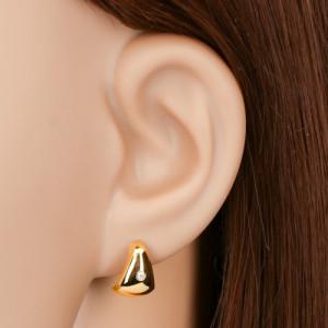 Cercei din aur 585 - diamant transparent pe triunghi mare, rotunjit