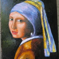 Tablou fata cu cercel de perla semnat Cimpoesu, Portrete, Ulei, Realism
