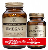 Solgar Pachet Omega-3 Triple Strength 50 caps + Magnesium cu B6 100 tablete GRATIS