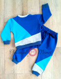 Trening 3 culori bumbac bebe – albastru royal, azur, gri