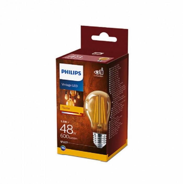 Bec LED Philips 5.5W (48W) A60 E27 825 GOLD NDSRT4, alb cald, temperatura culoare 2500K, 600 lumeni, 220-240V, durata de viata 15.000 ore, clasa energ