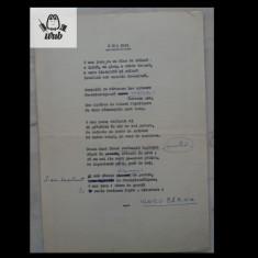 Manuscris/ Poem scris, corectat si semnat de Vlaicu Barna