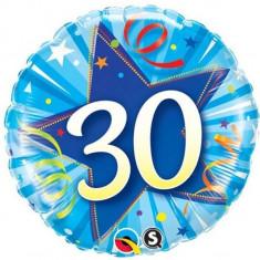 Balon 30 ani bleu din folie metalizata 43cm