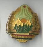 Insigna heraldica Stema Republicii Socialiste Romania 4 x 4.5 cm - 1970
