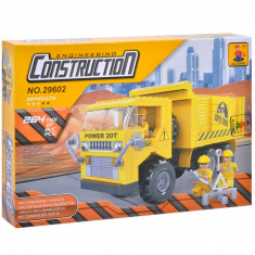 Set cuburi Lego,actual investing, model camion, 264 piese, galben