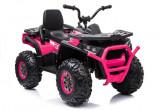 Atv electric Nichiduta Desert Pink cu roti din cauciuc si pornire la buton 12V