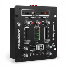 Resident DJ DJ-25, dj-mixer, pult de mixaj, amplificator, bluetooth, usb, negru/alb