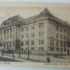 Targu Mures, Liceul de baieti Al. Papiu Ilarian// CP, Circulata, Fotografie
