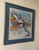 Tablou pastel - Iarna la tara - Frumos, Natura, Ulei, Altul