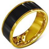 Inel din oțel chrurgical - verighetă netedă neagră, margine aurie - Marime inel: 59