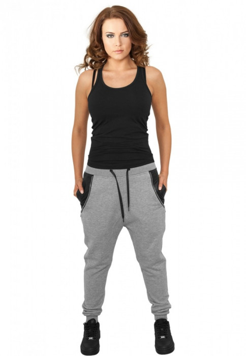Pantaloni trening dama cu buzunar imitatie piele