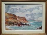 Tablou peisaj marin, ulei pe carton, semnat, 47 x 35