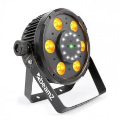 Beamz BX100 PAR, reflector LED, 6x6 W, 4-v-1-RGBW-LED-uri, 12x LED-uri strobe, laser RG