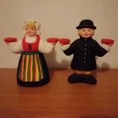 Pereche suport lumanare figurina ceramica handmade folk art Suedia 16.50 cm
