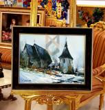 """Tablou, Ovidiu Puscasiu, """" Biserica Ardeal """" u/p , Dim. : 30 x 40 cm - Ovidiu Puscasiu"""