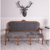 Sofa baroc din lemn mahon cu tapiterie din catifea gri inchis CAT361G19, Sufragerii si mobilier salon