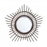 Oglinda decorativa de perete rama bambus maro Ø 55 cm Elegant DecoLux, Bizzotto