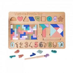 Puzzle incastru din lemn 5 in 1.