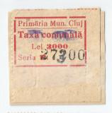 România, lot 99 cu 1 timbru fiscal local Cluj, Taxă comunală, pe fragm., oblit., Stampilat