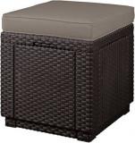 Taburet rattan Cube maro-taupe cald CURVER