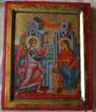 Icoana pictata pe lemn secolul 17 / Icoana veche brancoveneasca cu foita aur