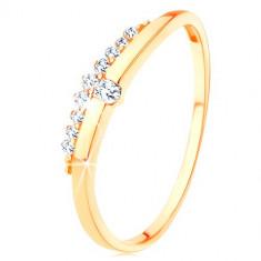 Inel de aur galben de 14K - linie netedă, ondulată cu zirconiu transparent, linie din zirconii - Marime inel: 55