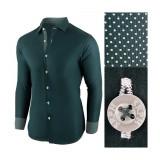 Camasa pentru barbati, verde inchis, bumbac, regular fit - Business Class Ultra, L, XXL, Maneca lunga
