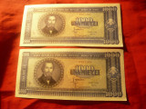 2 Bancnote inseriate 1000 lei 20 sept.1950 N.Balcescu RPR , cal. Necirculat