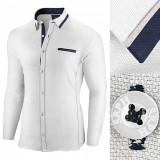 Camasa pentru barbati, alba, slim fit - Allee de Longchamp, L, M, S, XL, XXL, Maneca lunga