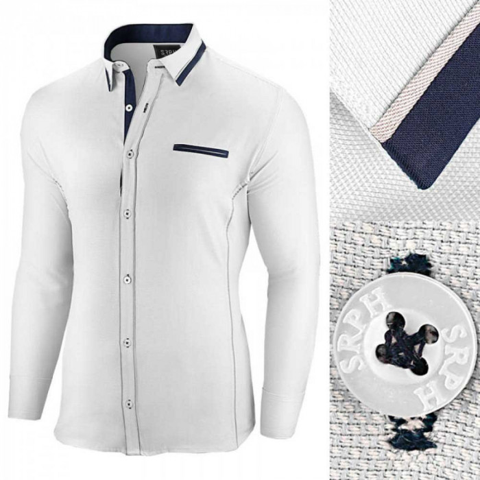 Camasa pentru barbati, alba, slim fit - Allee de Longchamp