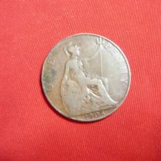 Moneda 1 Pence 1906 Edward VII Marea Britanie , bronz , cal. buna