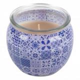 Lumanare parfumata, model cu aroma de iasomie, 6,8×6,5 cm, alb/albastru