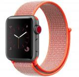 Cumpara ieftin Curea iUni compatibila cu Apple Watch 1/2/3/4/5/6, 42mm, Nylon Sport, Woven Strap, Electric Orange