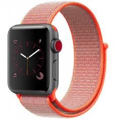 Curea pentru Apple Watch 42 mm iUni Woven Strap, Nylon Sport, Electric Orange