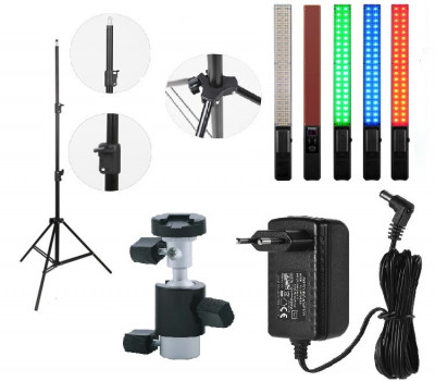 KIT lumina continua Lampa Yongnuo YN360+ stativ+ alimentator+ suport orientabil pentru stativ foto