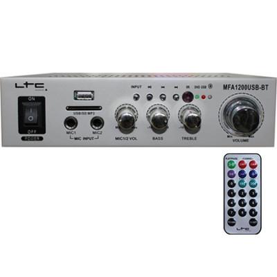 Amplificator karaoke, USB, SD, Bluetooth, telecomanda, 2 x 20 W, Argintiu foto