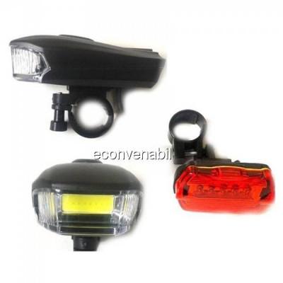 Set Lanterna COB LED 5W si Stop Rosu Semnalizare Bicicleta BL508 foto