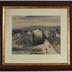 Adam Baltatu (1889-1979) Pictor roman - Peisaj citadin  / acuarela - datat 1929