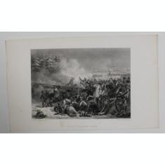 CHARGE DES CUIRASSIERS A EYLAU , GRAVURA PE METAL , ILUSTRATIE DE CARTE , SECOLUL XIX