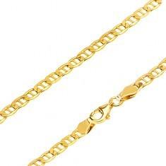 Lanț aur galben 14K - zale ovale late cu pivot subțire, 550 mm