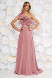 Rochie Ana Radu roz deschis de lux pe umar din voal captusita pe interior cu volanase accesorizata cu cordon
