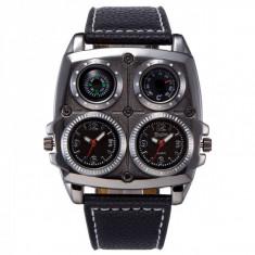 Ceas militar Oulm HP1140 Quartz time zone, negru, Fashion
