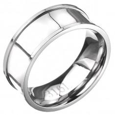 Inel din oțel - bandă argintie cu margine ridicată - Marime inel: 65