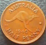 Moneda istorica HALF PENNY - AUSTRALIA, anul 1940  *cod 466 - MAI RARA, Australia si Oceania