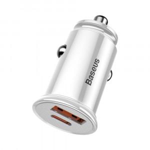 Incarcator Auto Baseus Circular cu functie QuickCharge 40 Iesiri USB si USBC PD 30W Alb