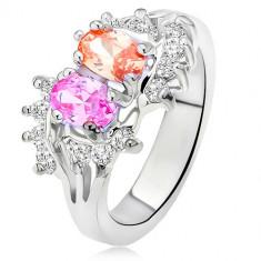 Inel argintiu, lucios, două ştrasuri colorate, zirconiu mic, transparent - Marime inel: 56