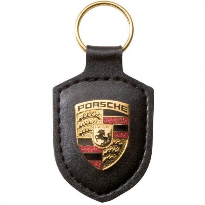Breloc Piele Neagra Porsche