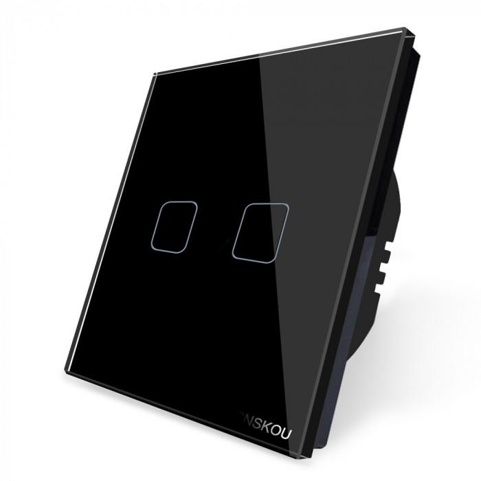 Intrerupator dublu touch Cnskou, panou tactil de sticla cristal, negru