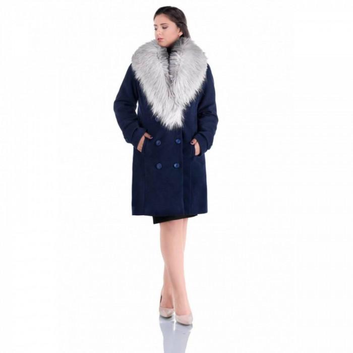 Palton elegant cu guler din blana Ambra bleumarin argintiu